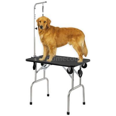 "36"" Large Adjustable Pet Dog Cat Grooming Table W/Arm&Noose Rubber Mat Z8D8"