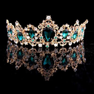 Luxury Silver Blue Crystal Bridal Tiaras Crown Gold Red Green Hair And Accessory