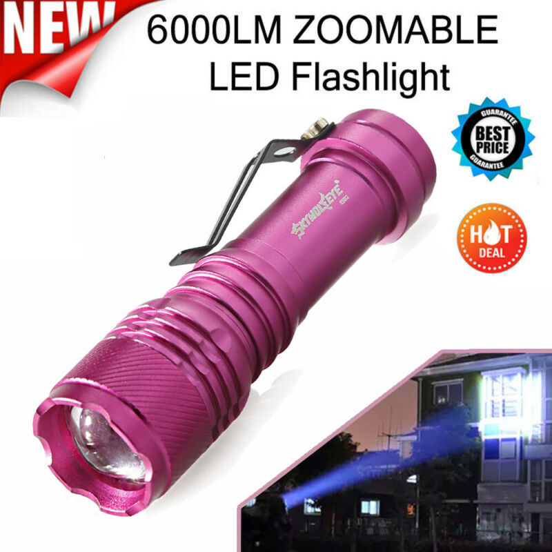 Sky Wolf Eye Mini LED Flashlight  6000LM 3 Modes Zoomable ca