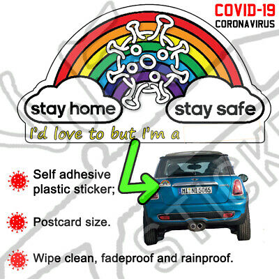 *10% TO NHS CHARITY* STAY HOME Keyworker Rainbow Sticker COVID virus Car nurse