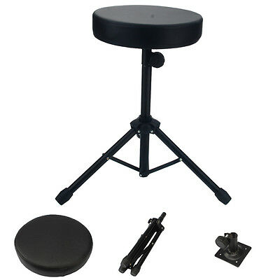 Drum Throne Stool Drummers Seat Percussion Hardware Drumming Black Padded Chair Drum Throne Seat Stool