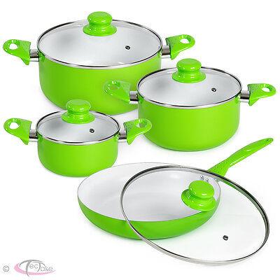 8pcs batterie de cuisine kit casseroles poêle céramique marmites vert