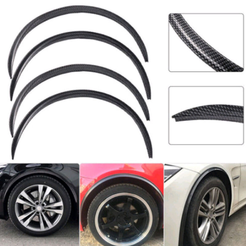 2x Carbon Fiber Fender Flare Wheel Eyebrow Sticker For Universal Car Auto Black