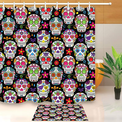 Bathroom Mat Shower Curtain & Hook Waterproof Fabric Day of the Dead Sugar Skull