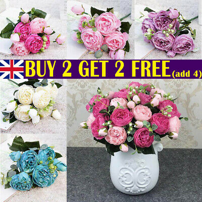 Home Decoration - 9 heads 1 Bouquet Artificial Peony Rose Silk Fake Flowers Home Wedding Decor UK