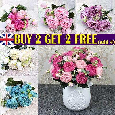 Home Decoration - 9 heads 1 Bouquet Artificial Peony Rose Silk Fake Flowers Home Wedding Decor UK