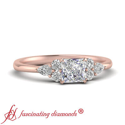 Tapered Edge Rose Gold Engagement Ring With 0.75 Ctw Princess Cut Diamond Center