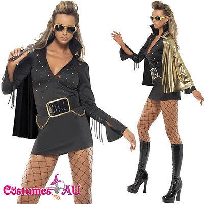Vegas Fancy Dress Costumes (Ladies Black Elvis Presley Viva Las Vegas Costume 50s 1950s Rock Fancy)