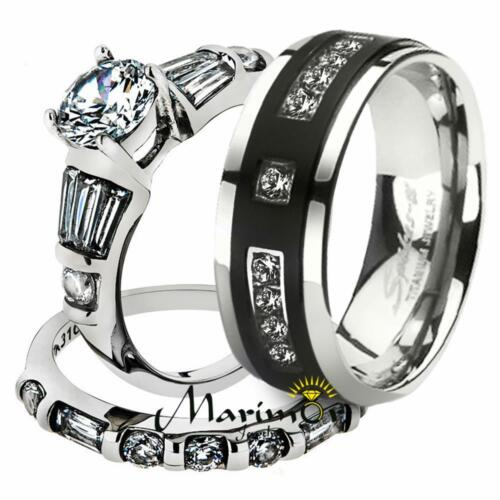 His & Her Stainless Steel 2.50 Ct Cz Bridal Set & Men's T...
