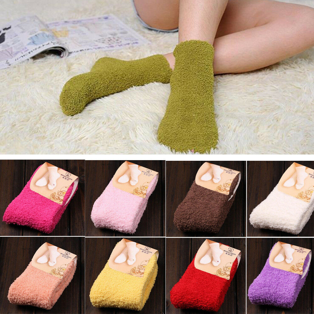 Home Women Girls Soft Bed Floor Socks Fluffy Warm Winter Pure Color ca