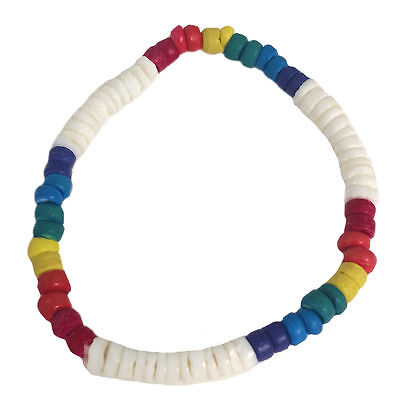 Gay Pride Beaded Bracelet Puka Shell White and Rainbow Coco Beads
