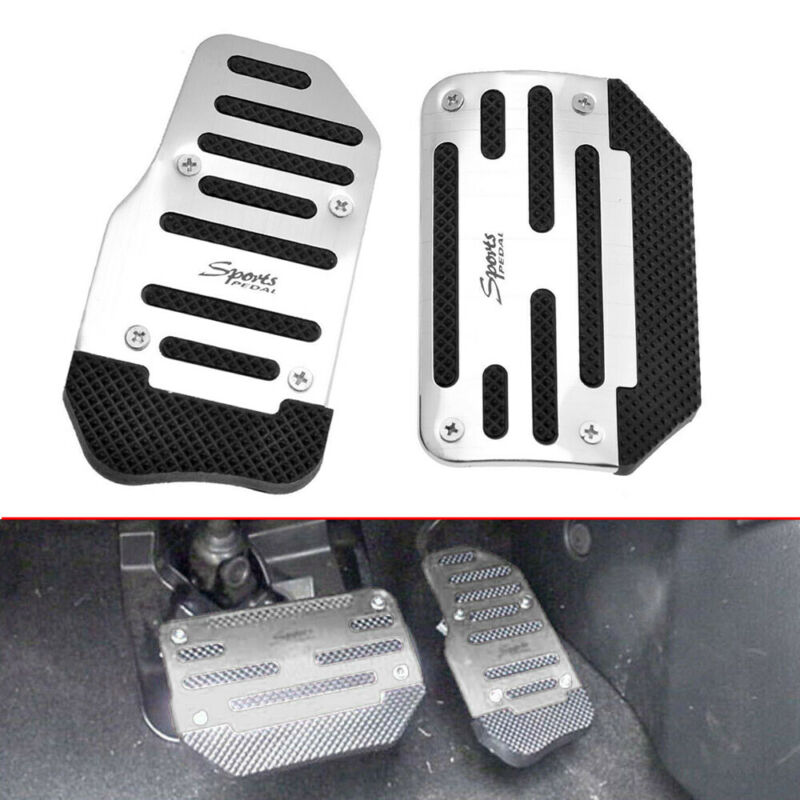 2Pcs Carbon Fiber Aluminum Gas Brake Pedals Pad Cover For Auto Transmission AT
