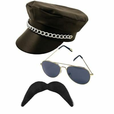 YMCA gay Village People Biker three piece set- hat moustache and glasses.](Three People Costumes)
