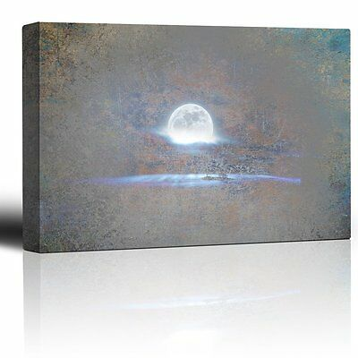 Wall26 - Glowing Full Moon on a Grey Texture Background - Canvas Art - 12x18 ](Full Moon Background)