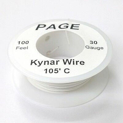 100 Page 30awg White Kynar Insulated Wire Wrap Wire 100 Foot Roll Made In Usa