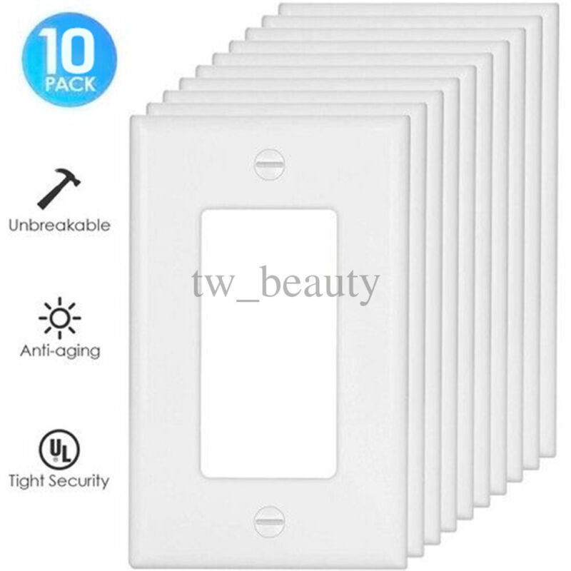 10X Wall Outlet Plug Socket Coverplate LED Night Light Sensor Receptacles