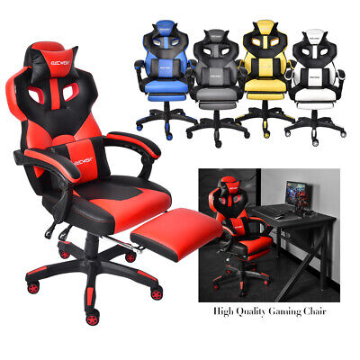 Video Gaming Chair Office Racing Recliner Leather Swivel Computer Seat Footrest