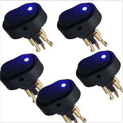 Hotsystem 5 Blue Led Light 12v Volt 30a Car Boat Auto Rocker Spst Toggle Switch