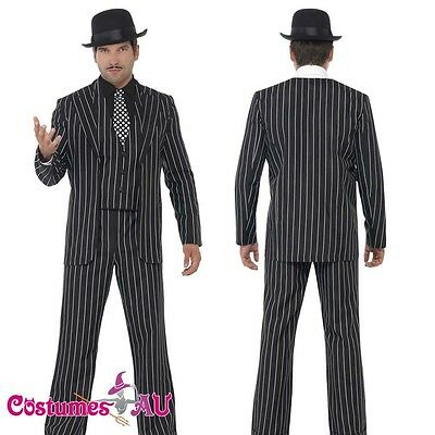 Mens 20s Vintage Gangster Boss Costume Fancy Suit 1920s Gangsta Zoot Razzle Male](1920 Male Costumes)
