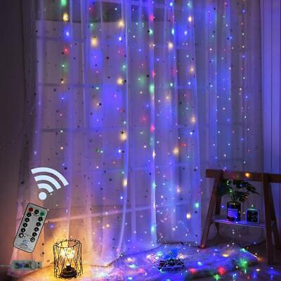 1.5X2M Rainbow Curtain Lights LED String Garland Fairy Icicle free shipping