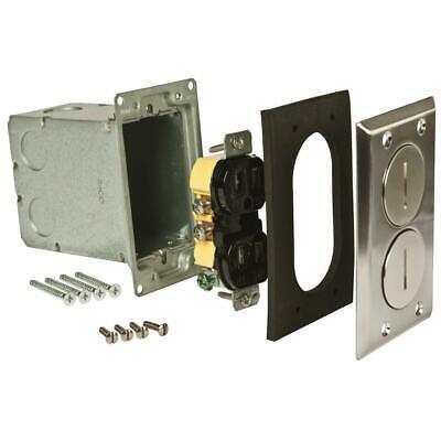 Raco Hubbell 1 Gang Electrical Receptacle Rectangular Floor Box Kit Satin Nickel
