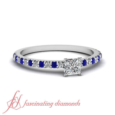 Pave Set Princess Cut Womens Diamond Rings With Round And Sapphire Accents GIA