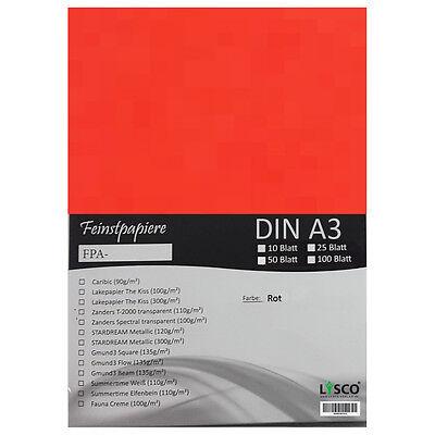 50 Blatt DIN A3 Gmund Transparentpapier 100g Farbe rot transparent (FPA-122)
