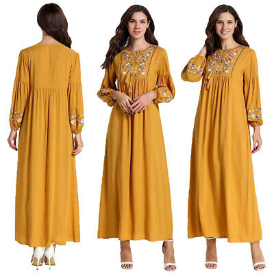 Abaya Women Muslim Maxi Dress Islamic Kaftan Embroidery Long Robe Amtumn Gown