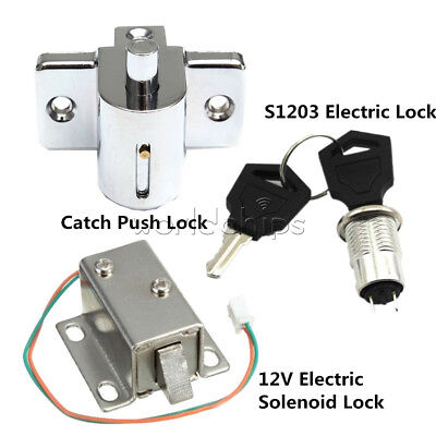 S1203 Electric Solenoid Lock Assembly Dc 12v 0.6a350ma Aluminum Catch Push Lock