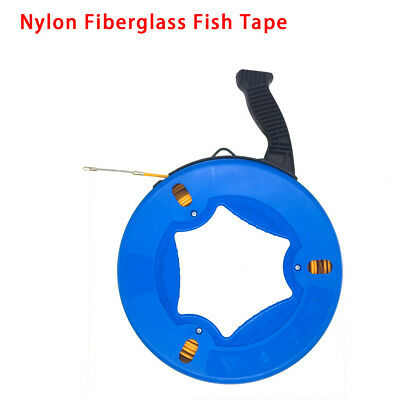 196ft Fiberglass Fish Tape Reel Puller Conduit Ducting Rodder Pulling Wire Cable