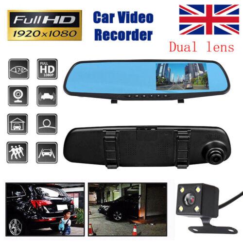4.3/'/' Dual Lens Car DVR HD Dash Cam Front /& Rear Mirror Camera Video Recorder UK