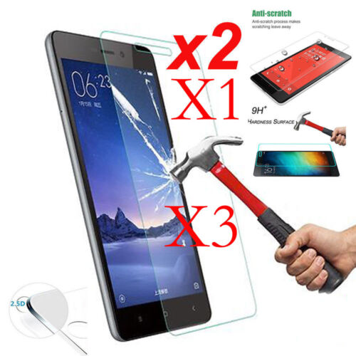 2X 3X Tempered Glass Protective Screen Protector For Xiaomi Redmi Note 4 / 4X