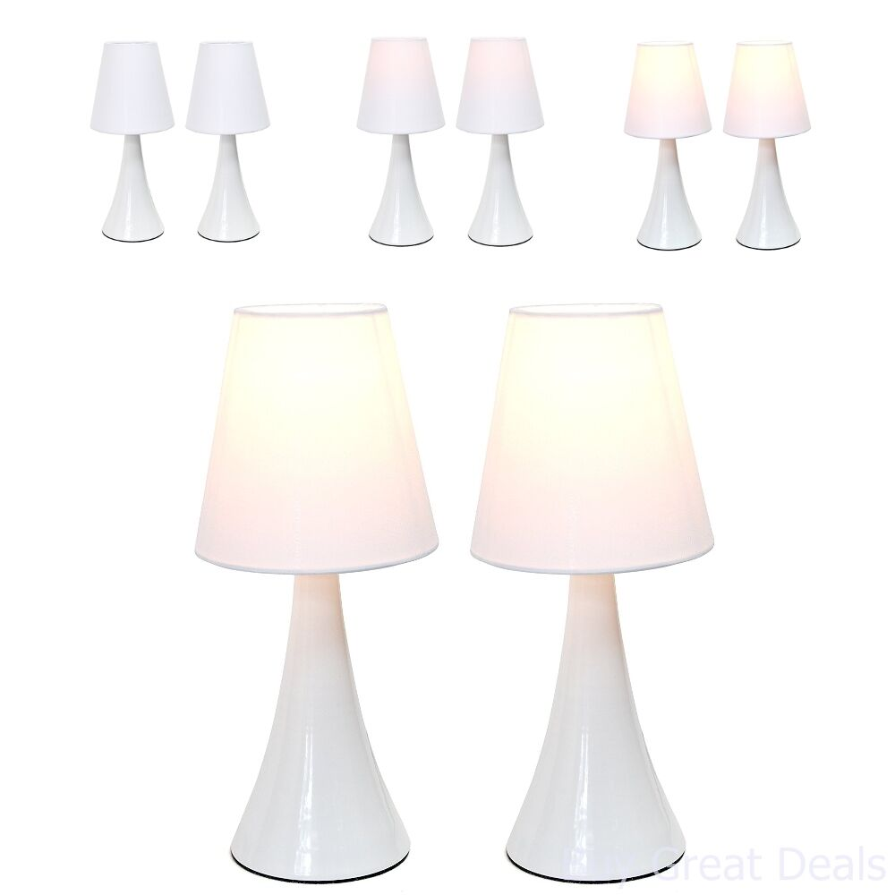 Details about 2 Lamp Set Bedroom Table Lamps Bedside Touch Light Sets Small  Side White Shades