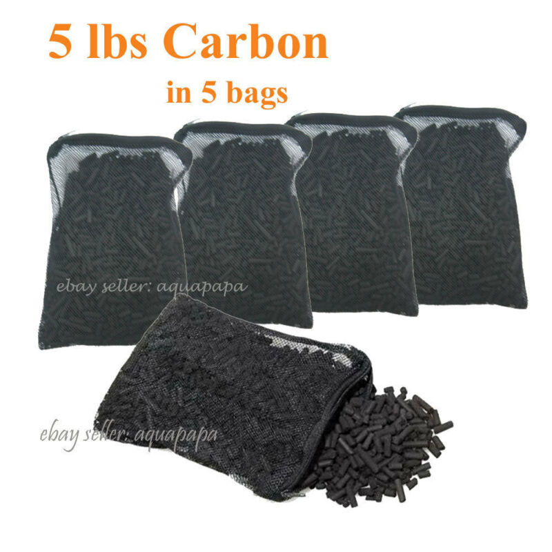 Activated Charcoal Carbon in 5 Mesh Bags Aquarium Pond Canister Filter 5 LBS