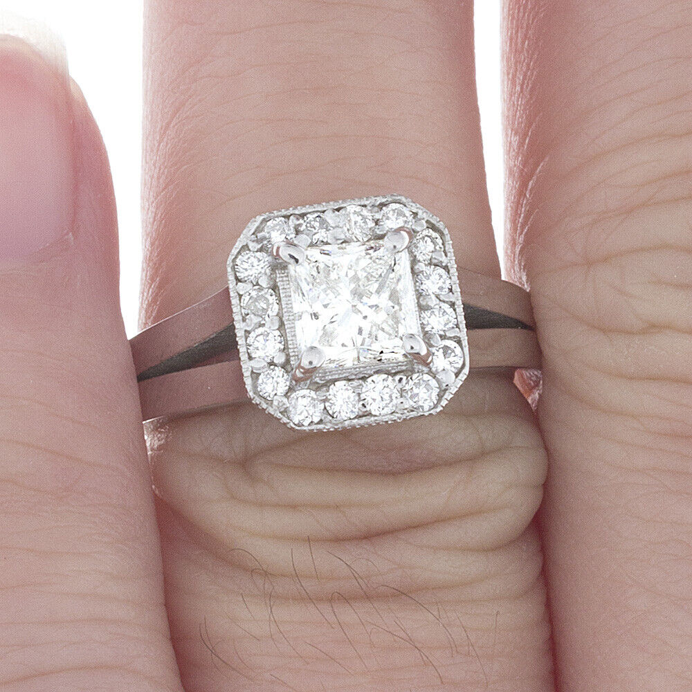 GIA Certified Diamond Engagement Ring 1.24 Carat Princess Cut 14k White Gold  1
