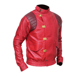Akira Kaneda Red Faux Leather Men's Fashion Jacket - All Size are Available.