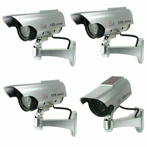4X Solar Bullet Fake Dummy Surveillance Security Cameras CCTV & Record Light