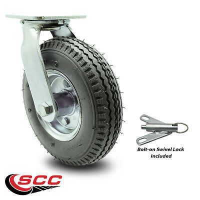 Scc 8 Gray Pneumatic Wheel Swivel Caster Wbolt On Swivel Lock