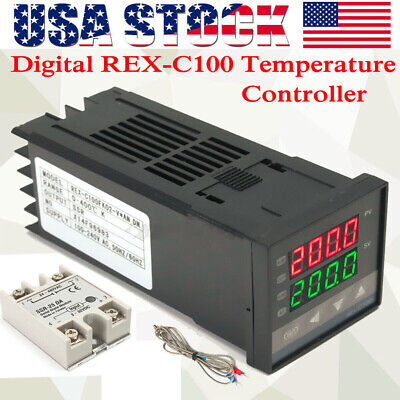 Lcd Pid Rex-c100 Temperature Controller Ssr 40a K Thermocouple Heat Sink H2f0