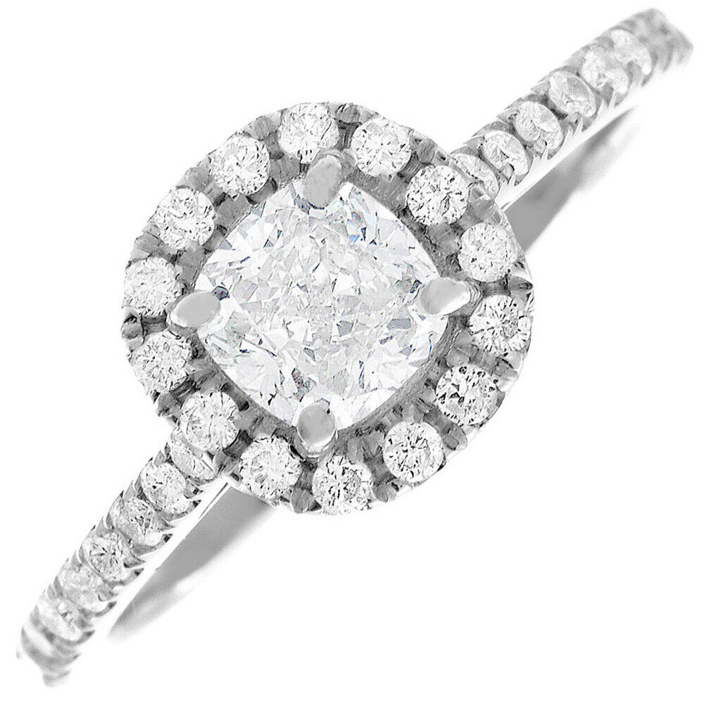 GIA Certified Cushion Cut Diamond Engagement Ring 18k White Gold  2.10 CTW