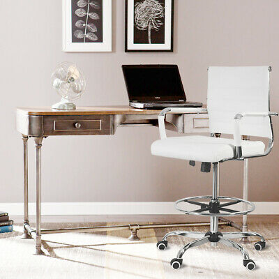 Office Chair Drafting Pu Leather Computer Height Adjustable Rolling Swivel White