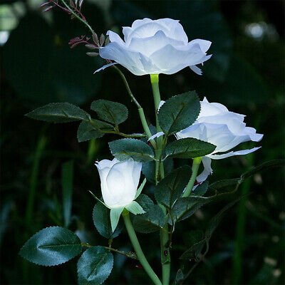 Realistic 3 Head White Rose Flower Solar LED Light Decorative Outdoor Lawn - Led Rose