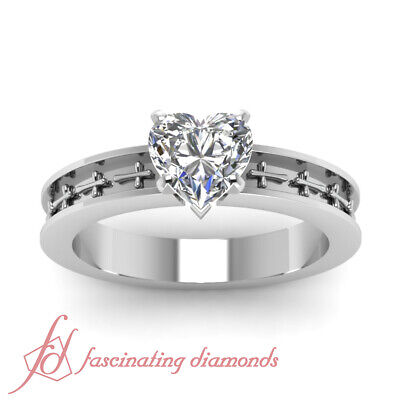1/2 Carat Heart Shape F-Color Diamond Solitaire Cross Design Engagement Ring GIA 1