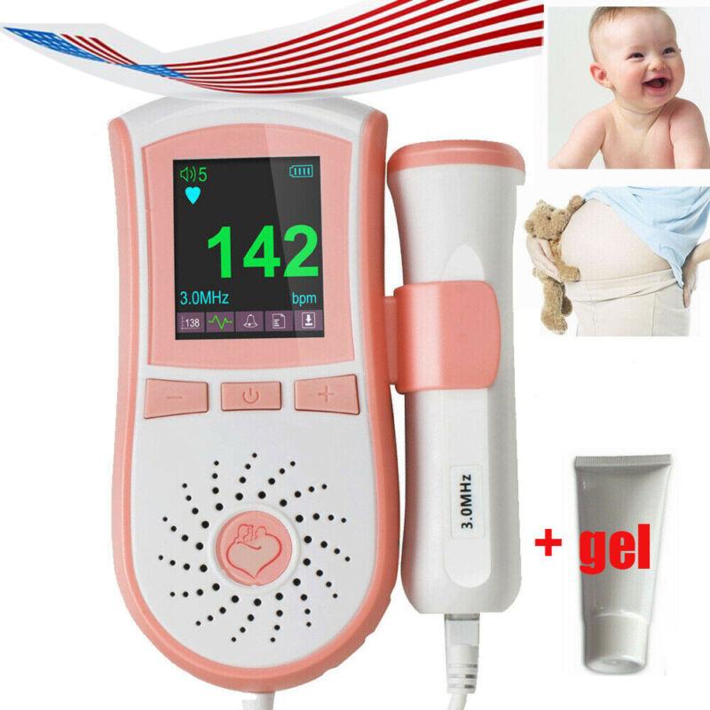 Fetal Doppler Baby Heartbeat Detector Ultrasonic Monitor Prenatal 3.0 MHz +gel