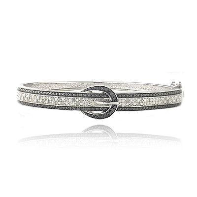 0.50ct TDW Black & White Diamond Belt Buckle Bangle (Tdw Diamond Bangle)
