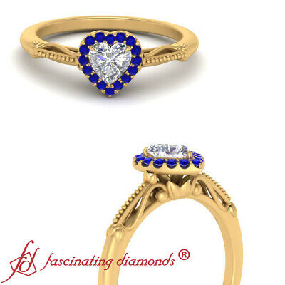 Heart Shaped Diamond And Sapphire Gemstone Floral Halo Engagement Ring 0.65 Ctw