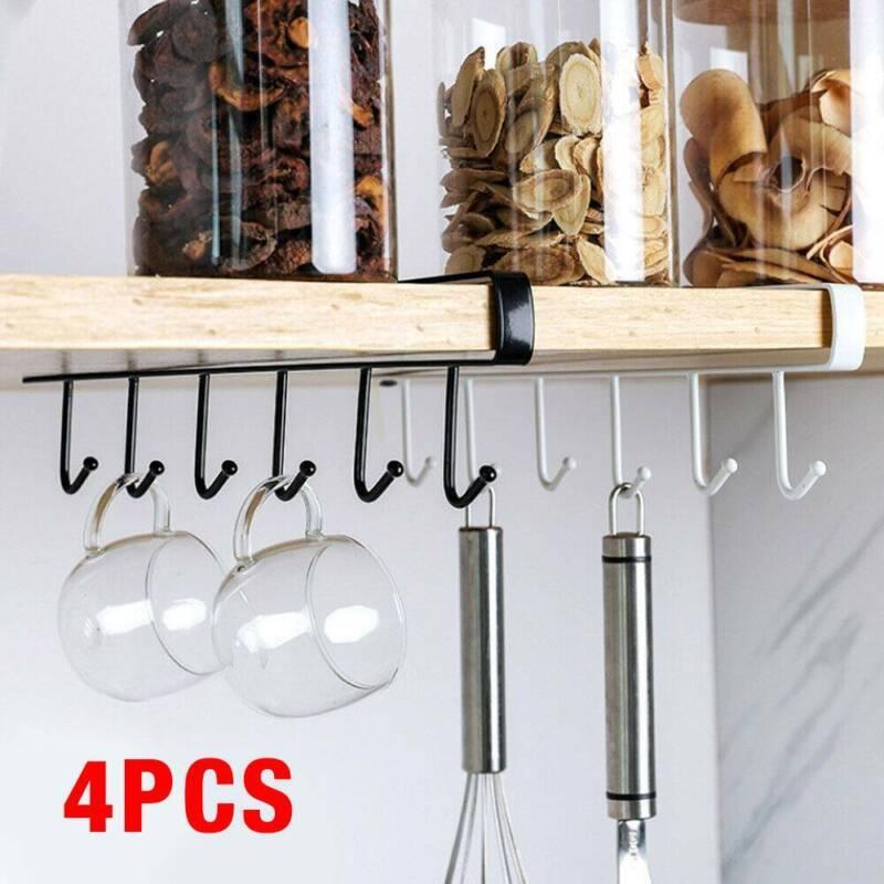 4pcs Kitchen 6 Hooks Mug Cup Rack, Kitchen Pantry Hanging Rack