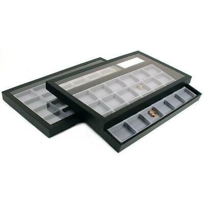 48 Slot Jewelry Display Insert Acrylic Lid Travel Tray
