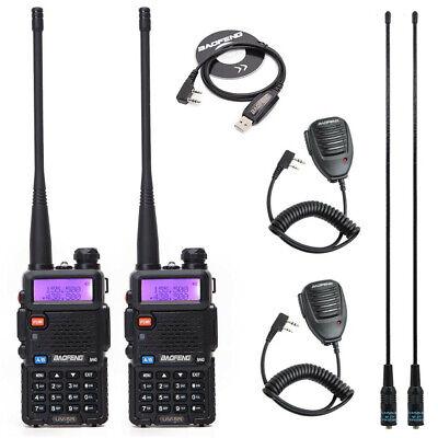 2x UV-5R 5W Baofeng V/UHF Walkie Talkie Dual Band Transceiver Two Way Radio Set