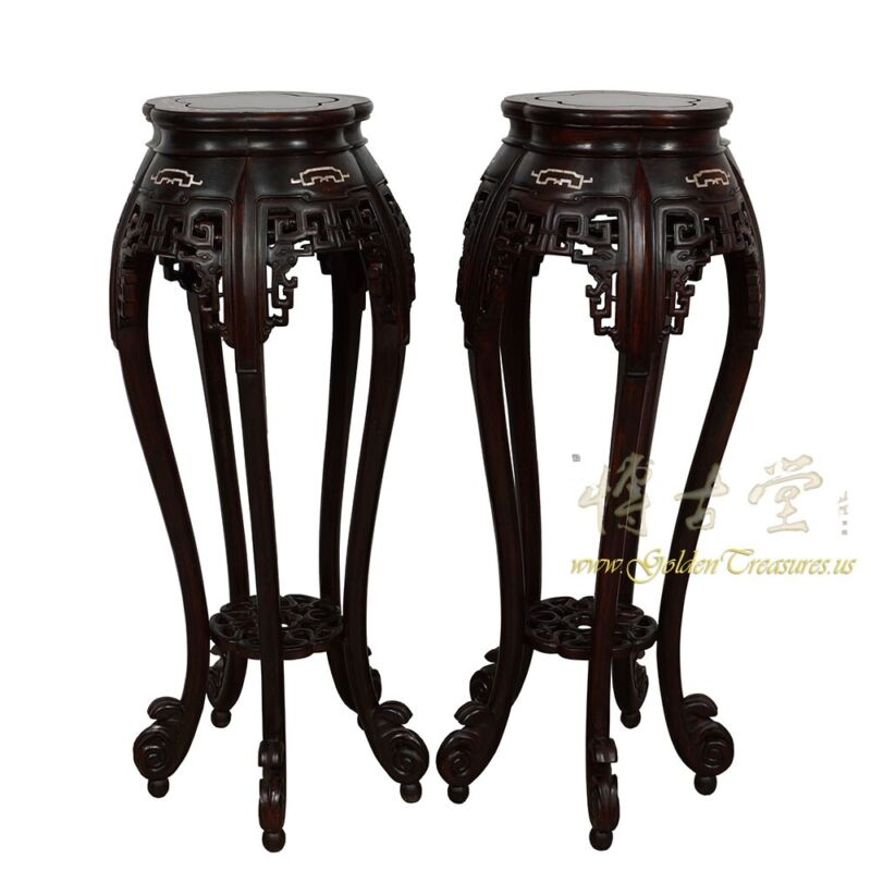 Rare Antique Chinese Rosewood Pedestal Table/Plant Stand w/MOP inlay